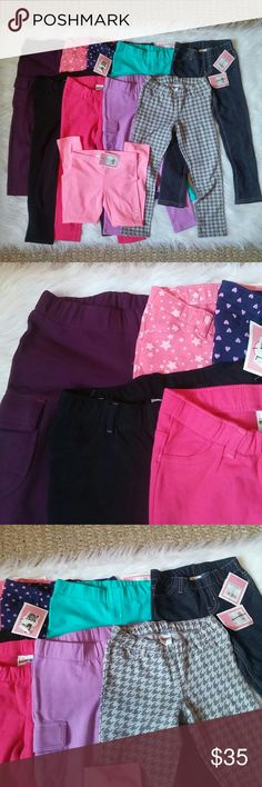 Lot of 5T Jeggings/Legging 10 Pieces NWT 9 pair of New with tags jeggings 1 pair of nwt leggings. Plum, Stars, Hearts, Teal, Denim, Black, Pink, Lavender, Houndstooth, and pink (leggings). Can not alter lot but can bundle with other items in my closet. Jeggings Retail $9 each. Leggings retail 4.50.  BUNDLE your likes and shoot me and OFFER! Glad to negotiate. Hundreds of items available for discounted bundle offers!  Follow on IG: @the.junk.drawer Circo Bottoms Leggings