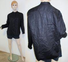 RALPH LAUREN 100% Linen Black Mandarin Collar 3/4 Button Up Tunic Shirt Top 14 #RalphLauren #ButtonDownShirt #Casual
