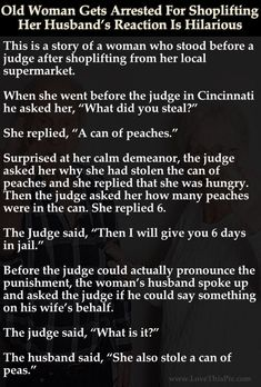 Old Woman Gets Arrested For Shoplifting Her Husband's Reaction Is Hilarious funny jokes story lol funny quote funny quotes funny sayings joke hilarious humor stories marriage humor funny jokes