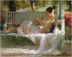 """Painting - """"French Swing"""" (2014) by Vladmir Volegov.   """"Reading was my escape and my comfort, my consolation, my stimulant of choice: reading for the pure pleasure of it, for the beautiful stillness that surrounds you when you hear an author's words reverberating in your head."""" ― Paul Auster, The Brooklyn Follies"""