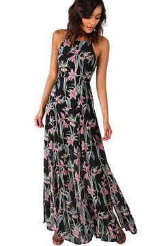 085db9c6f57e Floerns Womens Floral Backless Chiffon Maxi Beach Dress Large BlackPink    Be sure to check out this awesome product.