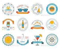Summer Vacation Emblem Stickers