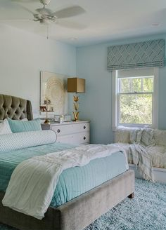 Luxurious aqua and gray girl's bedroom