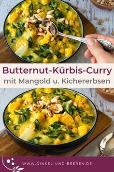Butternut-Kürbis-Curry mit Mangold und Kichererbsen. Vegetarisch, vegan, glutenfrei und gesund.