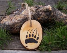 Wooden Christmas Tree Ornament with Mountain by CowboyCountryArt
