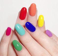 Rainbow Nails Are Everywhere: Here's How to Take Part in the Trend Single-shade manicures are being outnumbered by mismatched nails bursting with color. Click inside for 20 rainbow nail art ideas. Cute Acrylic Nails, Cute Nails, Pretty Nails, Gel Nails, Nail Art Designs, Colorful Nail Designs, Colorful Nails, Simple Designs, Statement Nail