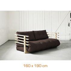 Canapé convertible FUNK - 160 x 190 cm - bois naturel - chocolat