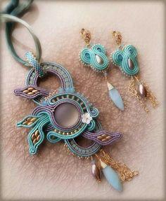 Soutache Pendant, Soutache Necklace, Beaded Necklaces, Shibori, Wearable Art, Jewelry Making, Pendants, Brooch, Drop Earrings