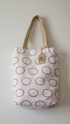 24ce4262dc Linen Cotton Canvas Tote Bag Handmade Shopper Red Loops Shoulder Bag Gift  for her Designer Fabric Bag
