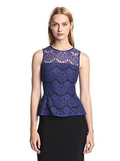 55% OFF Jay Godfrey Women's Huffman Flared Lace Top (Blueberry/Black)