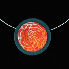 I love the prcelain-like finish of this pendant and the intriguing nature of the orange-red and pale blue pattern that conjures up sun spots and sun flares. Sun Flare, Clay Design, The Conjuring, Orange Red, Polymer Clay, Solar, Handmade Gifts, Magic, Pendant