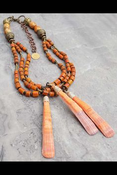 Sun Worshipper: Tibetan Agate, Orange Glass & Lion Paw Shell Warrior Pendant Necklace Tribal Looks, Tribal Warrior, Tassel Necklace, Pendant Necklace, Lion Paw, Shell Pendant, Tribal Jewelry, Unique Necklaces, Silver Beads