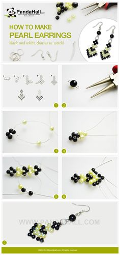 It is a free tutorial about how to make pearl earrings; I will show you an easy way to make a pair of weichi pattern earrings with simple black and white pearl beads.