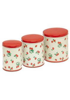 Vintage Sweet As Strawberries Canisters