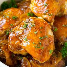 A close up of slow cooker apricot chicken.