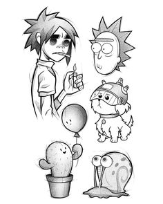Cute & Funny Cartoon Tattoo Ideas - Page 13 of 200 - CoCohots Tattoo Sketches, Tattoo Drawings, Art Sketches, Art Drawings, Cartoon Tattoos, Anime Tattoos, Body Art Tattoos, Cute Funny Cartoons, Illustrator