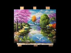 Beautiful gardens and flowers Acrylic Painting - YouTube
