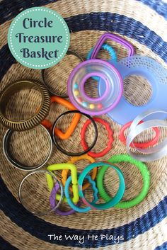 Explore circles with a treasure basket and homemade ring stacker. Activities For 1 Year Olds, Preschool Learning Activities, Infant Activities, Learning Games, Kids Learning, Baby Sensory Play, Baby Play, Baby Toys, Montessori Toddler
