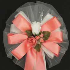 Items similar to White Rosebud Floral Coral Single Face Satin Wedding Bows Pew Church Pew Aisle Decorations on Etsy Wedding Bows, Wedding Car, Summer Wedding, Our Wedding, Wedding Ideas, Pew Bows, Ribbon Bows, Wedding Decorations On A Budget, Aisle Decorations