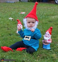 DIY Garden Gnome Costume for Babies - 2012 Halloween Costume Contest Gnome Costume, Halloween Costume Contest, Homemade Costumes, Diy Costumes, Holidays Halloween, Halloween Kids, Preschool Halloween, Halloween 2016, Halloween Outfits