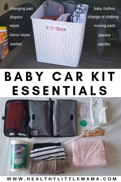 BABY CAR KIT Since becoming a mom, I learned that I need to be well prepared and stocked for any and everything. This baby car kit was quick to put together and has saved me on countless emergencies – healthy little mama Baby Must Haves, Need For Baby, Bebe Love, Baby Life Hacks, Mom Hacks, Baby Changing Pad, Diaper Changing Station, Baby Planning, Preparing For Baby