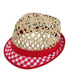 52efbf9dc20 Love this Red Open-Weave Gingham Straw Fedora on  zulily!  zulilyfinds Straw
