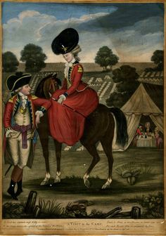 This is an on-line image from the British Museum. A soldier talking to a fashionably-dressed young woman on horseback, leaning against her horse, while another soldier entertains two women in a tent in the background to right; encampment laid out on the hill behind. 15 September 1780 Hand-coloured mezzotint with some etching.