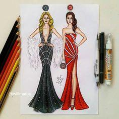 Чёрт и Ангел App Drawings, Cute Drawings, Dress Drawing, Drawing Clothes, Fashion Illustration Sketches, Fashion Sketches, Robes Disney, Social Media Art, Dress Sketches