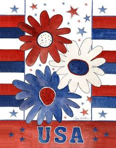 Art Licensing - Sara Mullen is an extremely versatile painter who has licensed her work broadly. Summer Painting, Easy Canvas Painting, Canvas Art, Rock Painting, Flag Painting, Canvas Paintings, Red White And Boom, Holiday Canvas, Patriotic Pictures