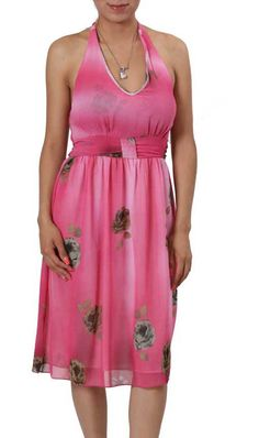 Rich Pink Floral Easy Fit Sheer and Lined Spring Summer Dress
