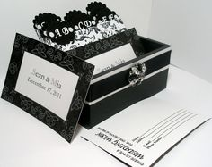 Custom Wedding Guest Box & Cards   Black by MichelleWorldesigns