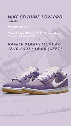 The Nike SB Dunk Low Lilac - available exclusively for Premium Club FLOWs, AMs and PROs via Release Raffle. The Raffle will run from 18.10.2021, 16:00 until 19.10.2021, 23:59 (CEST). All further information can be found on the Release Raffle page in our shop.