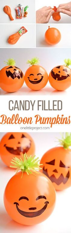 These candy filled balloon pumpkins are AWESOME favors for Halloween parties! They're super inexpensive and really quick to make! Imagine the party games you could play!!