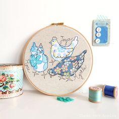 "Embroidered Hoop Art - 'Rose, Joyce & Myrtle' chickens textile artwork in blue - 8"" hoop"