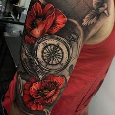 Compass Sleeve Tattoo with Poppies in Illustrative Realism