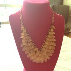Statement Necklace Pretty light pink shade gems cascading necklace Anthropologie Jewelry Necklaces