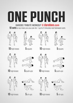Darebee One Punch workout - The One Punch workout is an anaerobic, fast-paced strength and power-orientated workout. It won't feel like much doing the first set or even the second but as your muscle temperature rises and the on-board ATP stores are depleted you are going to feel the burn. Your mission is to maintain the pace throughout so as your muscles get more tired your pace and output do not slacken.