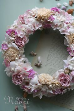 shell wreath  pink rose