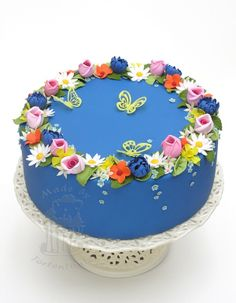 Blumen Fondant Blütenpaste Rosen Schmetterlinge Osterglocken Vergissmeinnicht Blätter Motivtorte Ostern
