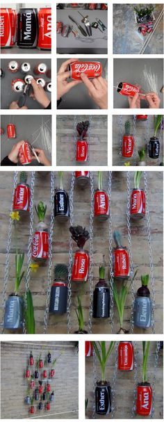 "Vertical garden made with recycled Coca Cola Cans! http://youtu.be/y2vtEBjvE50 [symple_toggle title=""More Information"" state=""closed""] Website: Reciclado Creativo - The Reuse Factory ! Submitted by: Rosa Montesa ! [/symple_toggle]"