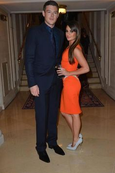 Glee stars Lea Michele and Cory Monteith also attended the Atelier Versace Fall / Winter 2012 Show in Paris wearing outfits from the luxury brand.