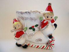 NAPCO Vintage Christmas ELVES on Candy Cane Boot SLEIGH Planter Vase