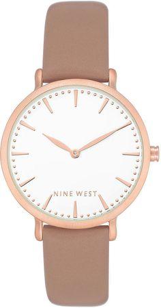 Nine West Women's Dusty Rose Faux Leather Strap Watch 42mm
