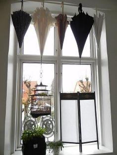 paraguas como cortinas