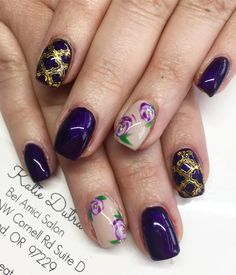 Purple and gold gel nails with floral nail art and stamping gel with gold foil - nails by Katie dutra