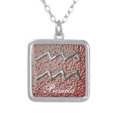 Aquarius Birth Sign Ruby Red Personalized   A fabulous necklace for the Zodiac: sign of Aquarius (12th, Jan – 20th, Fed) The background is a shade of garnet red being the birth stone color for this sign. Don't forget to personalize it with a name.