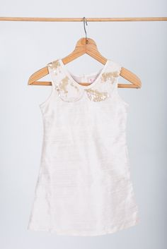 """Flower girl dress: """"Bijou"""" made by GHAM. Price: R750. A dusty pink 100% raw silk slip dress. Lined with 100% cotton. Matt gold sequin lace collar. Cape Town, South Africa."""