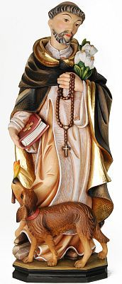Male Saints - St. Dominic, religious gift, religious figurine sculpture, statue, Val Gardena tradition of woodcarving, wood carving, high quality handmade statues