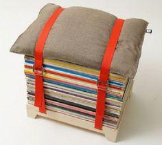 puff con revistas recicladas
