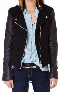 Tweed Moto Jacket with Quilted Sleeves